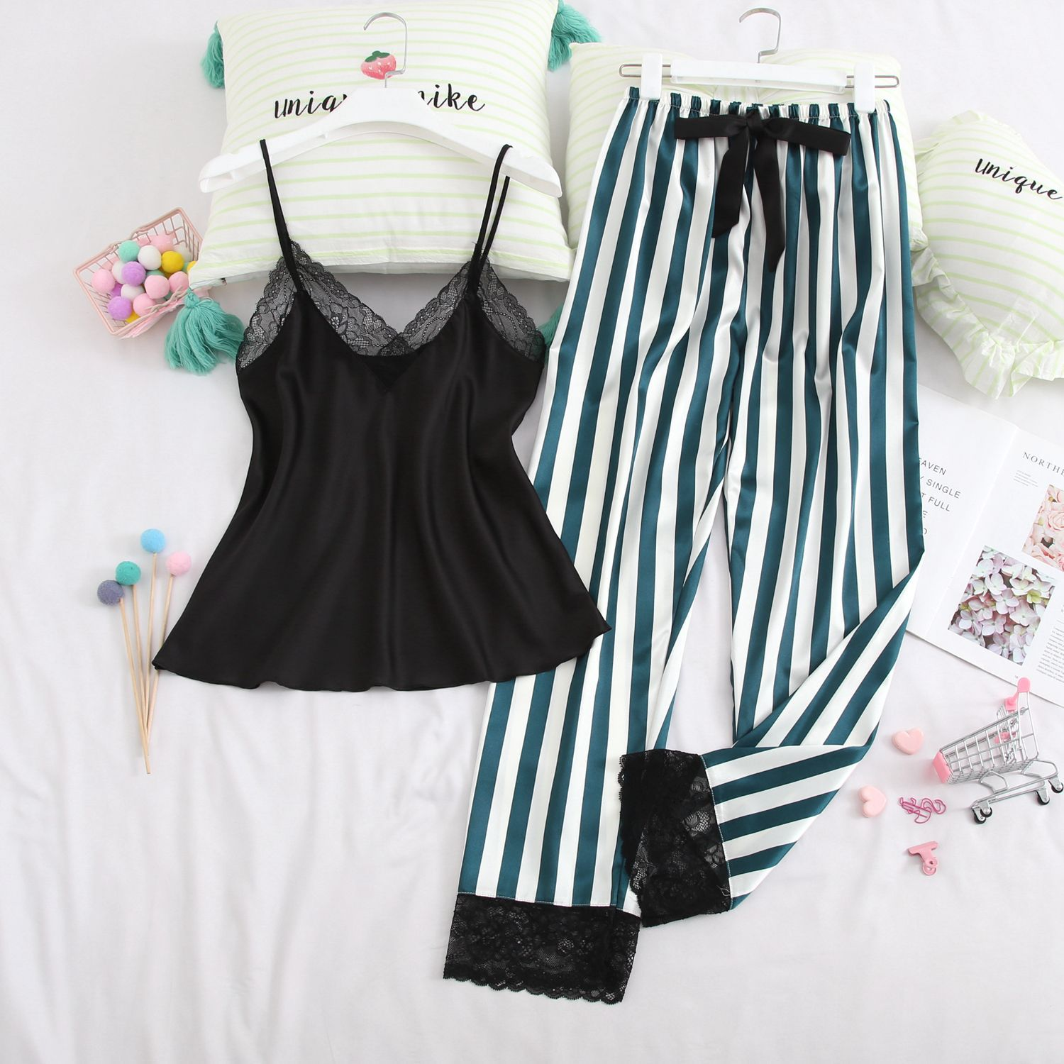 Women Pajamas Sets With Shorts Silk Bowknot Sexy Ladies Satin Nightwear Lace Striped Sleeveless Pijama Sleepwear Pyjama Femme