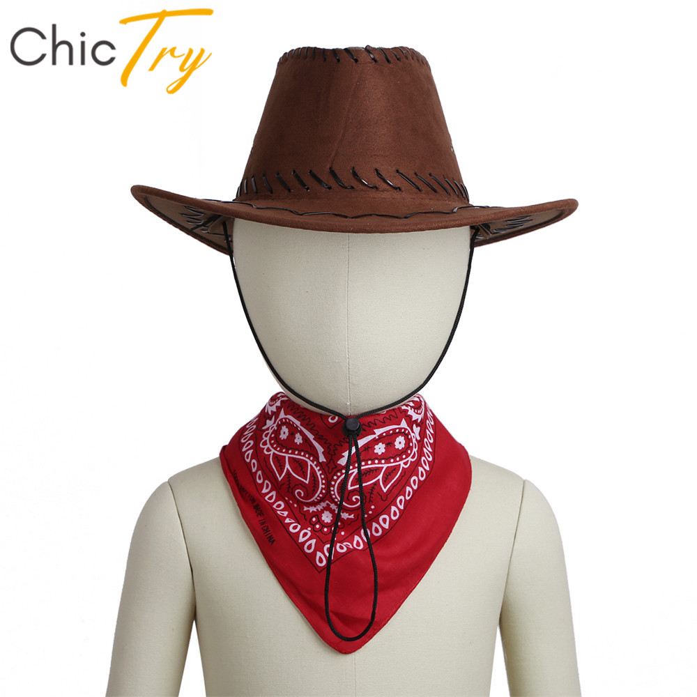 ChicTry Kids Halloween Roleplay Party Costume Accessories Western Cowboy Felt Drawstring Hat With Bandanna Set For Boys Girls