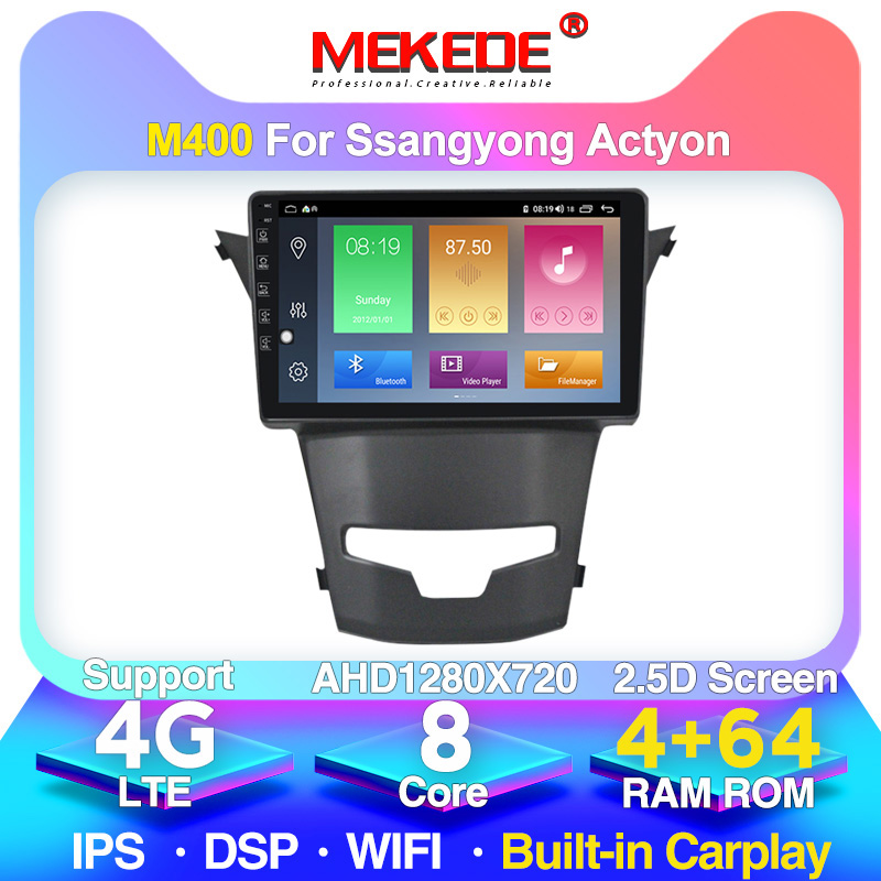 MEKEDE 4G LTE 4G+64G Android 10.0 Car DVD GPS Navigation for SsangYong Korando Actyon 2014 2015 Car Radio Stereo Wifi 4G DVR image
