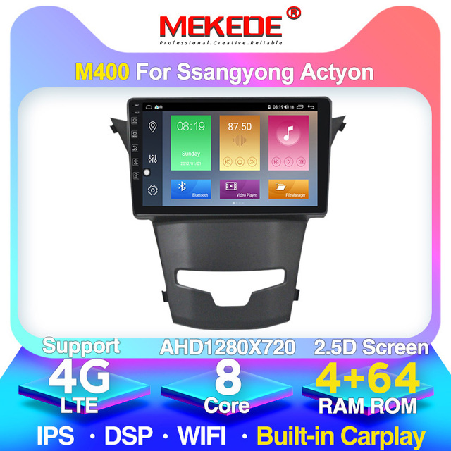 MEKEDE 4G LTE 4G + 64G Android 10.0 voiture DVD GPS Navigation pour SsangYong Korando Actyon 2014 2015 autoradio stéréo Wifi 4G DVR