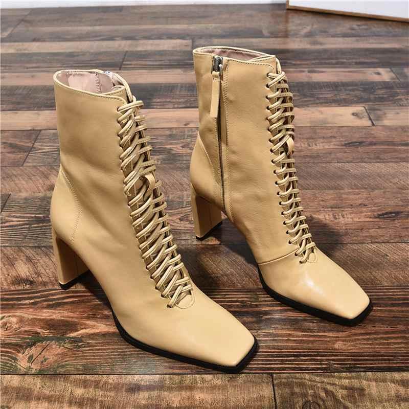 Smirnova 2020 Mới Thời Trang Giày Bốt Nữ Phối Ren Vuông Mũi Dây Kéo Chất Lượng Cao Thu Đông Giày Tất Mắt Cá Chân Giày nữ