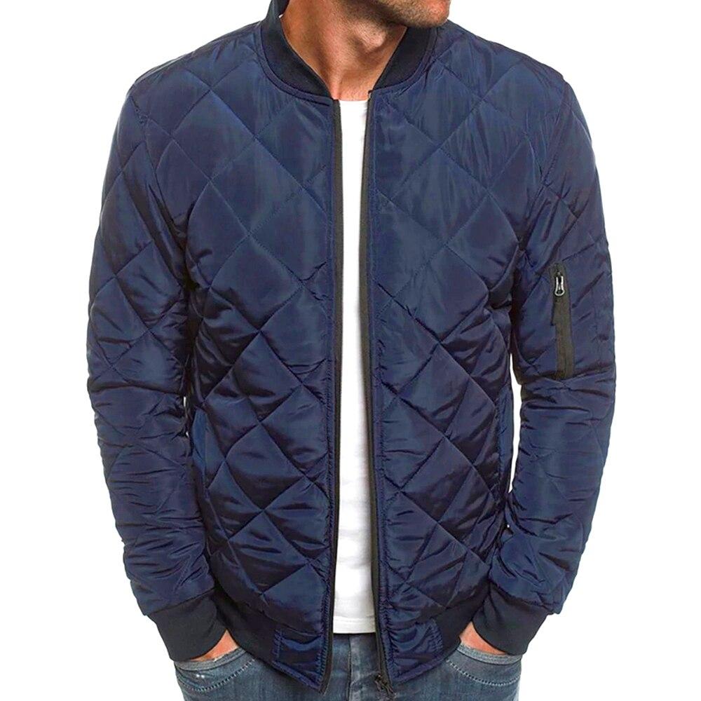 Men's Bomber Jacket Coat Winter Long Sleeve Lightweight Man Down Jacket Windproof Diamond Quilted Outwear Coat