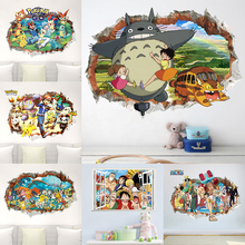 Cartoon Japanese Anime Wall Hole Stickers For Kids Room Accessories Decor Home Comic Moive PVC Decor Mural Wall Art Decals pvc cartoon comic doll