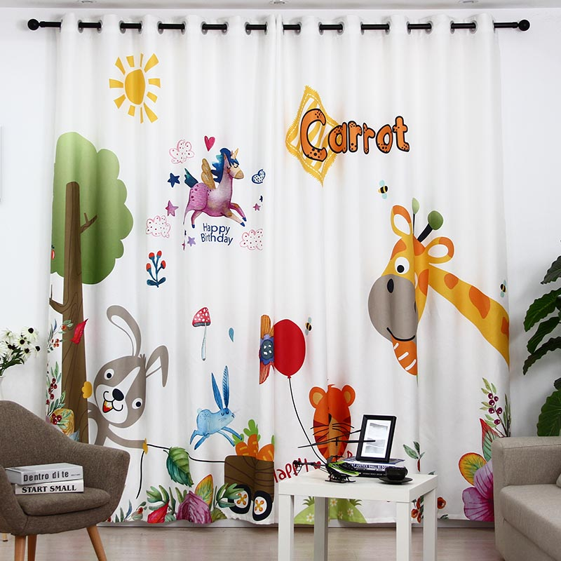 Cute Cartoon CHILDREN'S Room Thick Insulated Animal Paradise Curtains for Living Dining Room Bedroom.