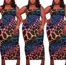 AYES XL-4XL Plus Size Dresses Women Leopard Patchwork Vestidos Bodycon Maxi Slip Dress Clothes Multi-Colored Large Size Dress