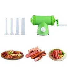 JKUN Manual Sausage Stuffer Sausage Maker Meat Stuffer Filler Hand Salami Maker Sausage Filling Tool Funnel Hand Tool with 3 Different Diameter Filling Tube Household Sausage Tool