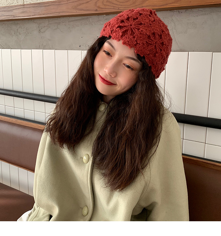 BADAMANA 2020 NEW FASHION Hand Crochet Knitting Hat Vintage Hat For Female Spring Autumn Lace Decoration Hat Beanies Hat