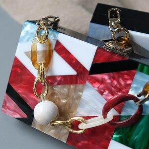 Image 5 - New Women Messenger Bags Brand Fashion Luxury Acrylic Geometric Lattice Patchwork Handbag Party Prom Clutch Woman Evening Bag