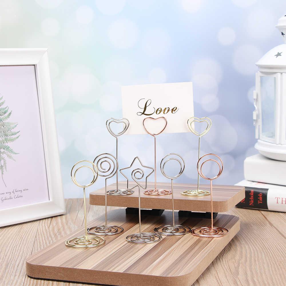 Soporte de tarjeta de Metal romántico corazón foto Clip Mesa número soporte boda fiesta escritorio Decoración Accesorios