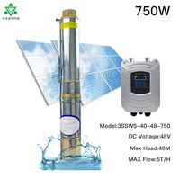 DC 48V 750W Solar Deep Well Water Pump Brushless 5T/H Flow 40M Head Permanent Magnet Synchronous Motor stainless Steel Pump