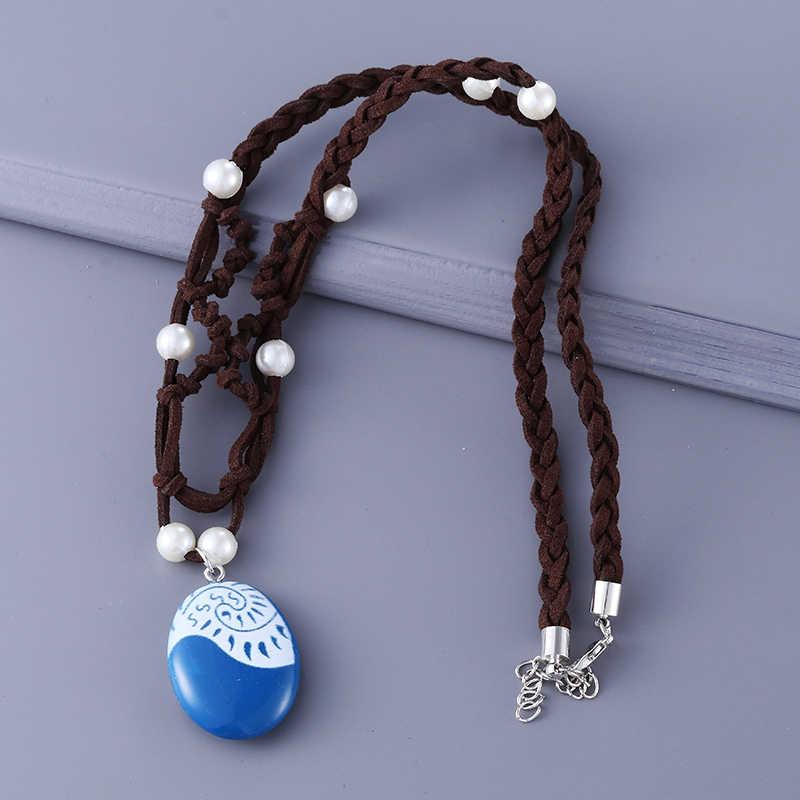 תכשיטים סרט קסם Moana אוקיינוס חבל שרשרת שרשראות כחול אבן שרשראות & תליוני עור זמש קולר שרשרת