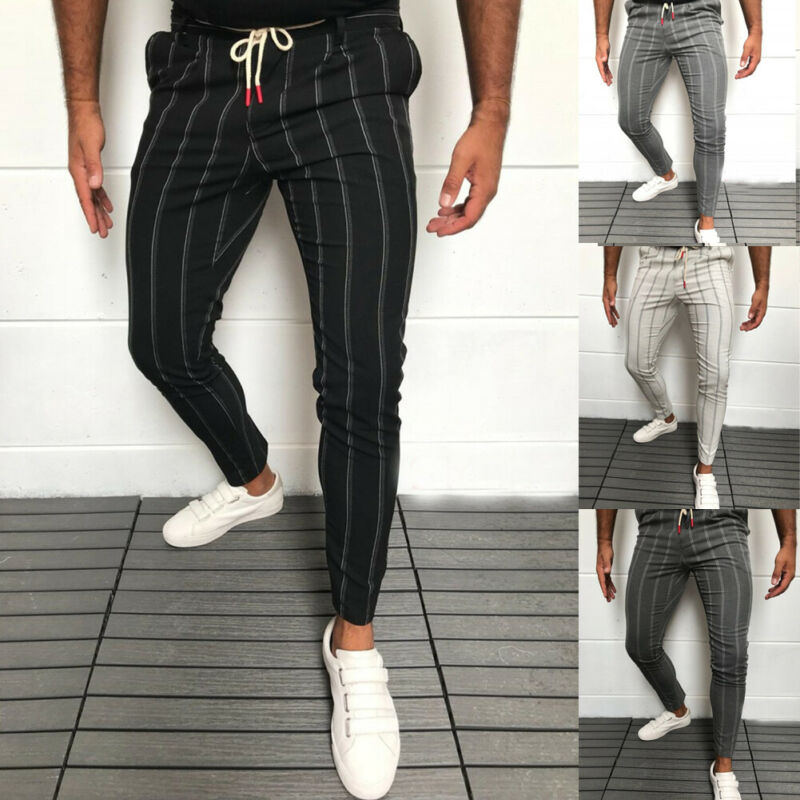 Men's Formal Business Striped Dress Pants Slim Fit Casual Long Trousers 2019 Striped Men Pants