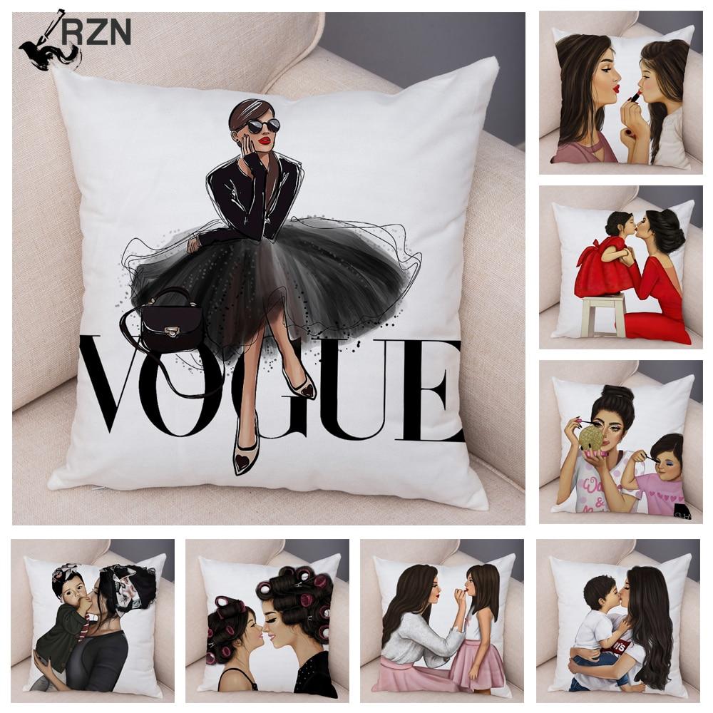 Модный чехол для подушки для мамы и ребенка, Vogue, мультяшный чехол для дивана, домашнего автомобиля, мягкий плюшевый декор, Детская наволочка...