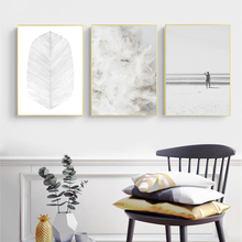 Abstract Painting Poster Feather Canvas Nordic Beach Posters And Prints Wall Pictures For Living Room Unframed