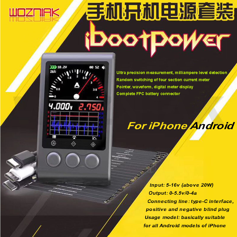 Ibootpower 4A-320mA Power Cable For IPhone Android TYPE-C Digital Ammeter Charging Activation Power Kit