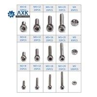 535PCS M2/M3/M4 Stainless Steel Cylinder Round Head Hexagon Screw Locknut Nut Bolt Washer Assortment Kit