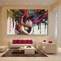 JQHYART Холст Искусство Wlong Love Kiss печатные картины для гостиной стены без рамки декоративные картины абстрактное искусство
