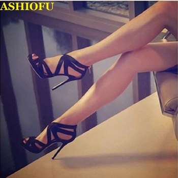 ASHIOFU Handmade Simple Ladies High Heel Sandals X-straps Party Prom Summer Shoes Large Size Stiletto Fashion Evening Sandals