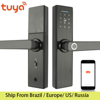 Tuya wifi lock Fingerprint Lock Smart Card Digital Code Electronic Door Lock Home Security Mortise Lock Wire Drawing Panel|Electric Lock| |  -