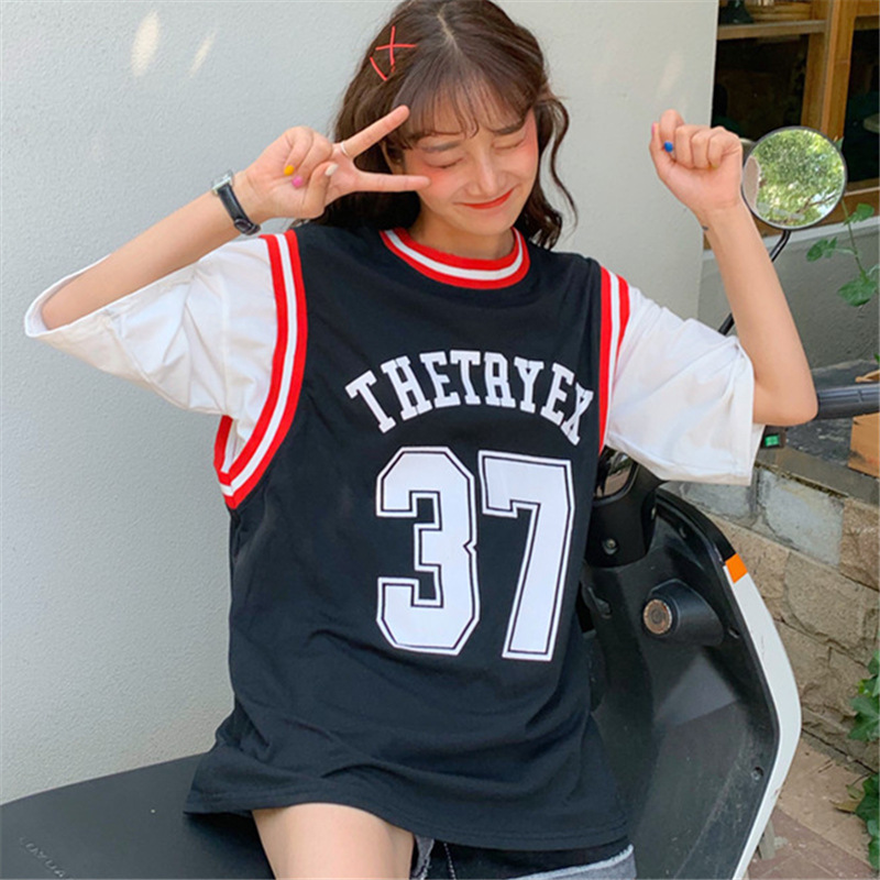 Summer Couples Casual Basketball Sports Blouses Japanese-style Retro Korean-style CHIC College Style Base Short Sleeve T-shirt