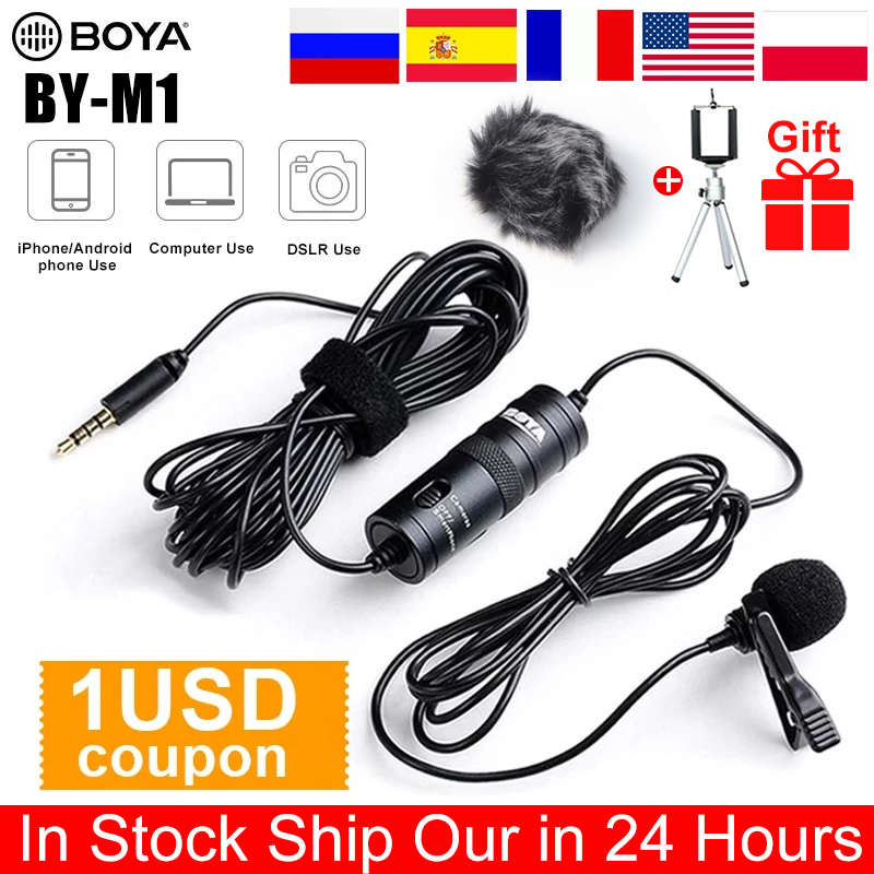 BOYA BY-M1 3.5mm Audio Video Record Lavalier Lapel Microphone Recording microphone Clip On Mic for iPhone Android Smartphone PC