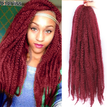 Chorliss 20Inch Synthetic Afro Puff Marley Braids Hair Long Crochet Kinky Curly Hair Wonder Lady Hair Extensions Blonde Grey Red cheap High Temperature Fiber CN(Origin) 1strands pack Pure Color Gray Red Purple Marley Braiding Hair 70g Heat Extensions Hair