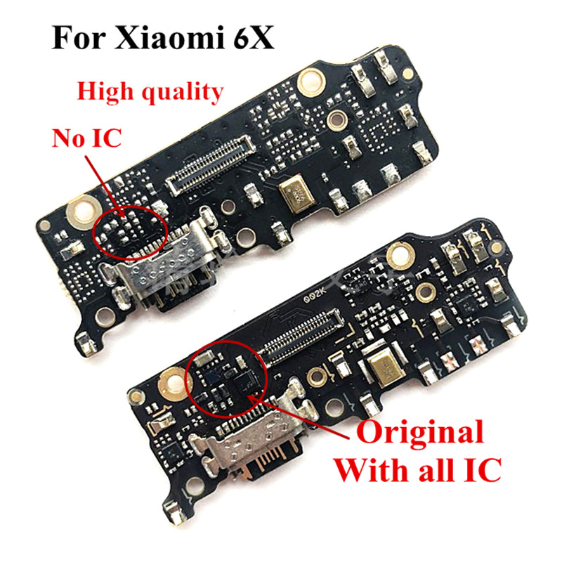 Original USB Charging Dock Port Flex Cable For Xiaomi 6X Mi6x M6x Charger Plug Board With Microphone Replacement Parts