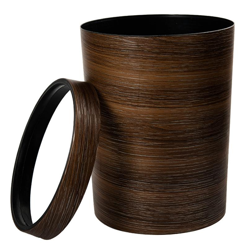 New HIPSTEEN Retro Style Pressing Ring Plastic Trash Can Household Office Mimetic Wood Grain Garbage Bin   Dark Brown|Waste Bins| |  - AliExpress