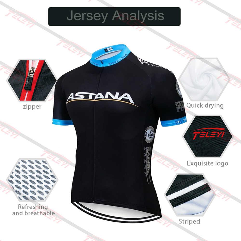 2020 Team ASTANA biała odzież rowerowa koszulka rowerowa Ropa męskie letnie koszulki rowerowe Pro 20D podkładka żelowa spodenki rowerowe
