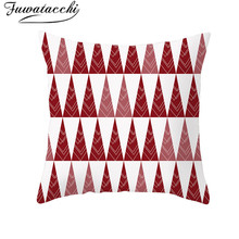 Fuwatacchi Festive Red Pattern Cushion Cover Christmas Style Pillow Home Sofa Car Decorative Throw Pillowcase 45x45cm