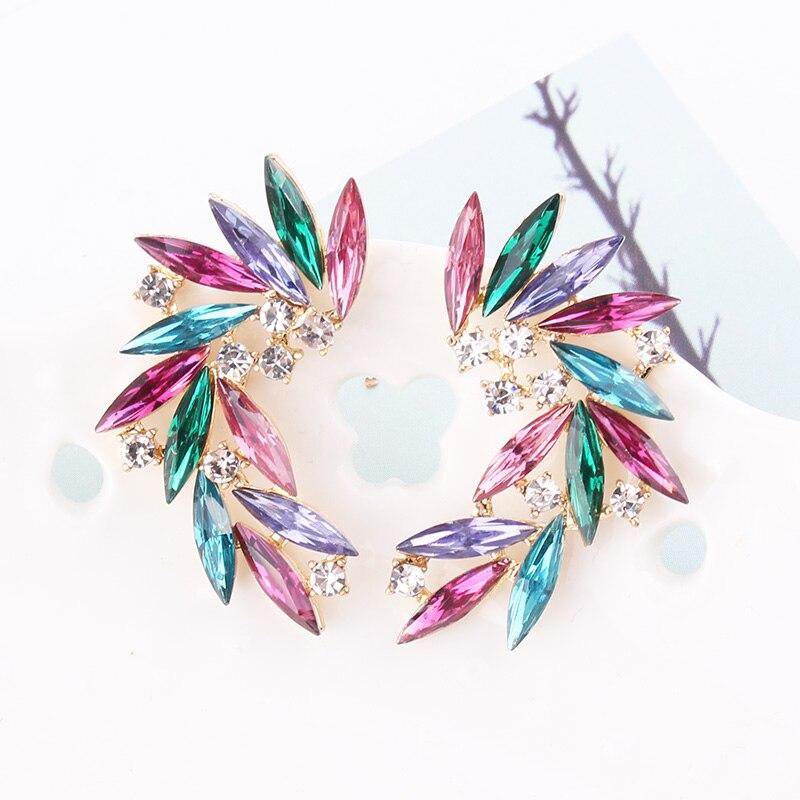LUBOV brillant strass ailes boucles d'oreilles acrylique cristal pierre femmes Piercing boucles d'oreilles bijoux de mariage à la mode cadeau de noël 5