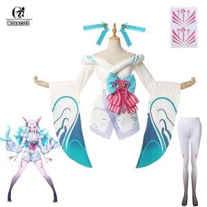 ROLECOS Игра LOL Spirit Blossom Ahri Косплей Костюм LOL белый костюм Ahri женское кимоно белое платье полный комплект на Хэллоуин