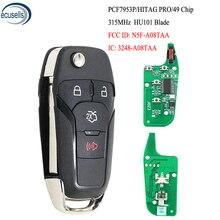 3 + 1/4 tasten Flip Remote Key Keyless Entry Fob 315MHz ID49 Chip für Ford Fusion 2013 2015 FCC ID: n5F A08TAA HU101