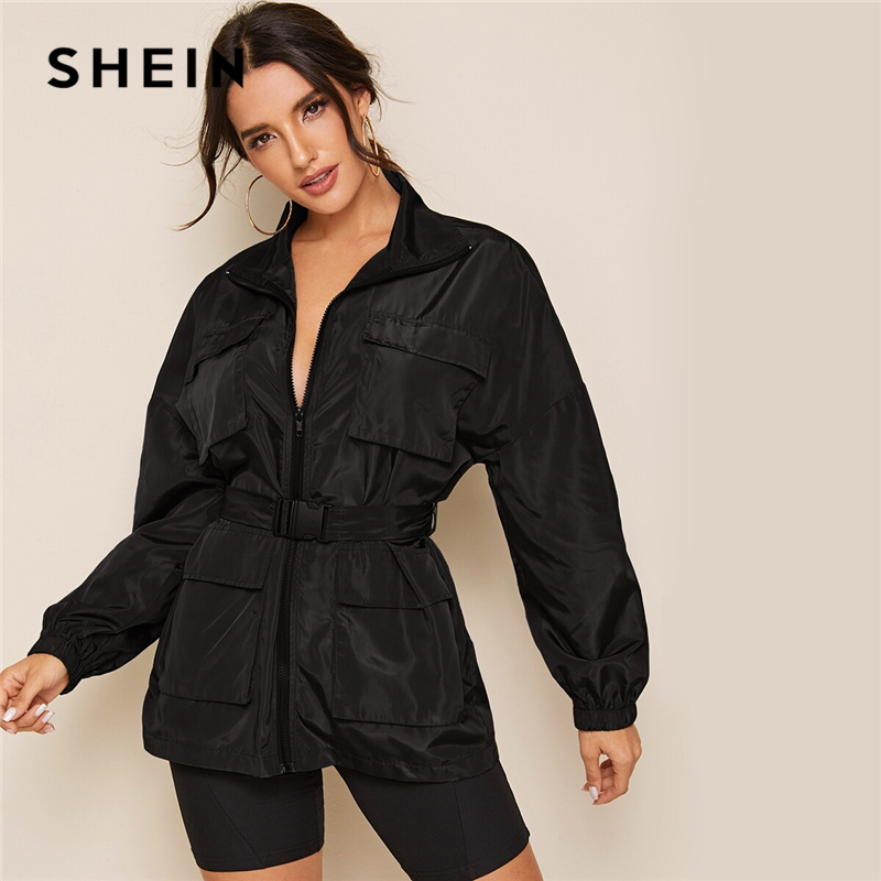 SHEIN Black Zip Up Pocket Patched Jacket With Push Buckle Belt Women Autumn Solid Windbreaker Casual Sporting Outwear Jackets