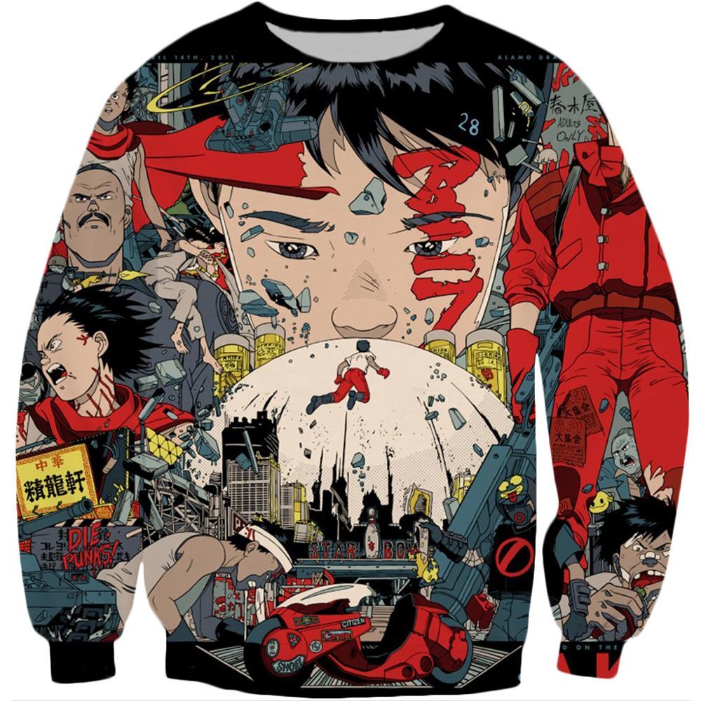 Akira Kaneda Neo Tokyo Anime Printed Crewneck Sweatshirt 2020 autumn Harajuku Fashion Men Long Sleeve Pullover Casual hoodie