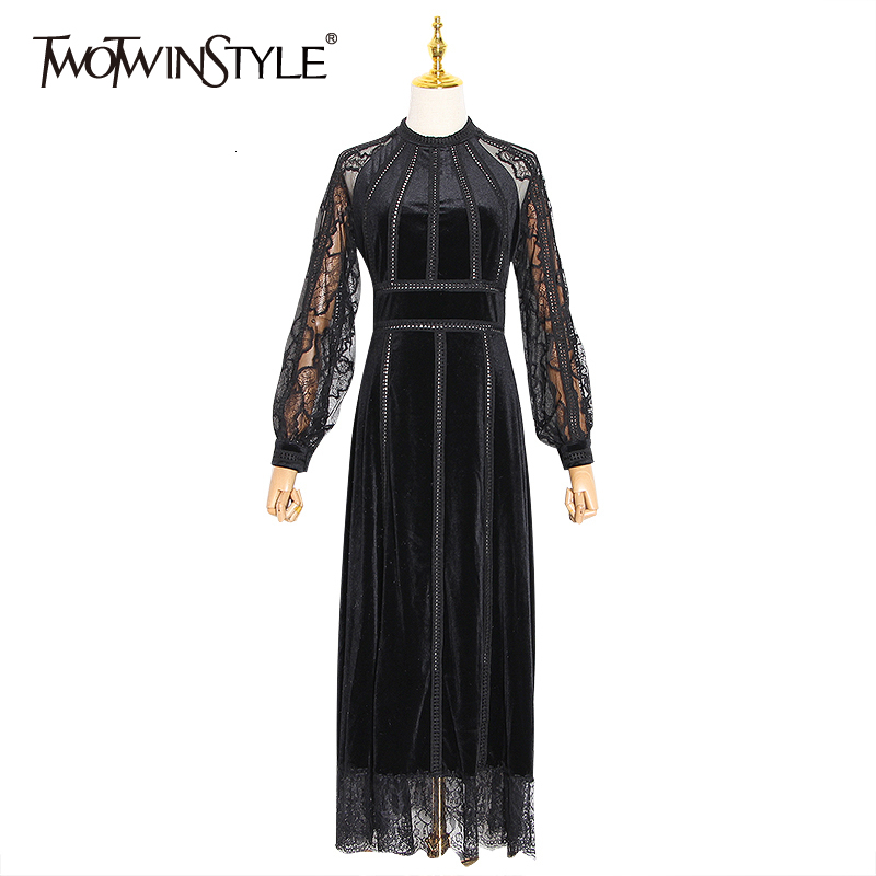TWOTWINSTYLE Sexy Patchwork Lace Evening Party Dresses Women O Neck Long Sleeve High Waist Tunic Dress Female 2020 Clothing Tide