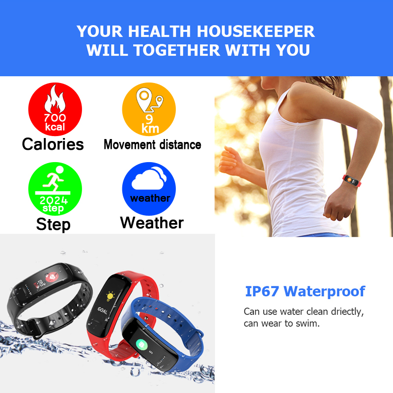 LIGE Smart Sport Bracelet Waterproof Fitness Watch Blood Pressure Heart Rate Monitor Pedometer Smart Watch Men For Android iOS in Smart Wristbands from Consumer Electronics