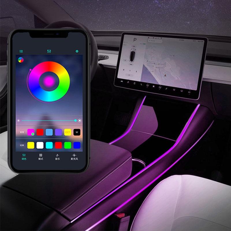 Multi Color LED Light Car Interior Accessories Modification Control  Light For Tesla Model 3 Light Strip
