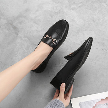 Brand Flats Women Loafers 2020 Spring Autumn Ladies Metal Decoration Fashion Female Flat Loafer Shoes For 932655 - discount item  65% OFF Women's Shoes