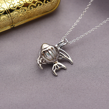 цена на 925 sterling silver natural 7-9mm fish shaped Essential Oil Diffuser Necklace Locket Pearl Cage Pendant accessory DIY Jewelry