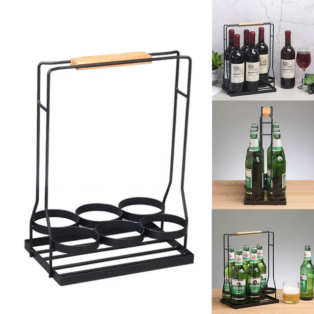 Portable Wood Handle Table Ktv Wine Rack Decorative Bar Kitchen