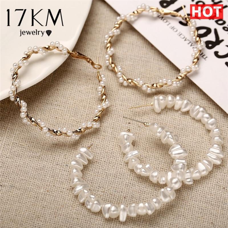17KM Oversize Pearl Hoop Earrings For Women Girls Unique Twisted Big Earrings Circle Earring Brinco Statement Fashion Jewelry