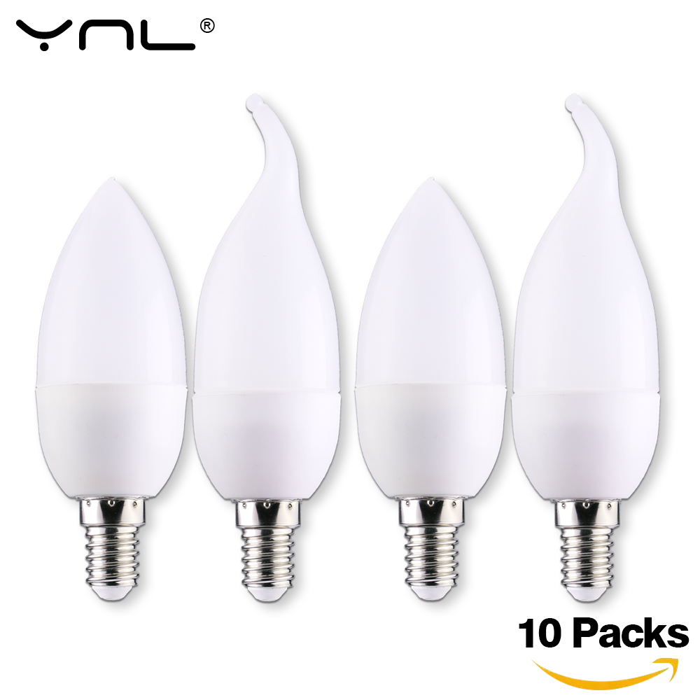 10pcs  E14 LED Candle Bulb 3W Lampada LED Lamp Indoor Light AC 220V 230V 240V LED Chandelier Warm Cold White For Home Decoration