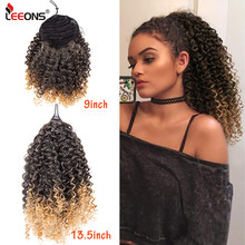 Leeons, nuevo, 5 colores, largo Afro, rizado, extensión de cola de caballo, cordón sintético, pieza de pelo ondulado de maíz para mujeres, negro Natural