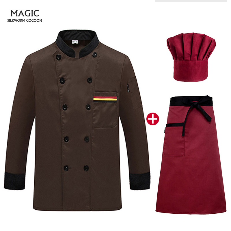 Hotel Uniform Sushi Uniform Autumn And Winter Catering Service Restaurant Uniform Long-sleeved Jacket+hat +apron Men And Women
