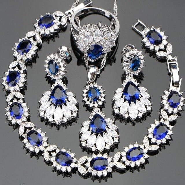 Conjunto de joyas de plata 925 para boda, conjunto de pendientes/colgante/Collar/anillos con piedras azules, circonita blanca, caja de regalo gratis