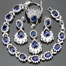 Gümüş 925 düğün kostüm kadınlar takı setleri küpe/kolye/kolye/yüzük seti mavi taşlar ile beyaz zirkon ücretsiz hediye kutusu