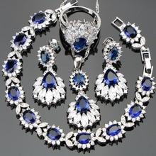 Prata 925 casamento traje feminino conjuntos de jóias brincos/pingente/colar/anéis conjunto com pedras azuis branco zircão caixa de presente livre