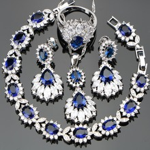 Silver 925 Wedding Costume Women Jewelry Sets Earrings/Pendant/Necklace/Rings Set With Blue Stones White Zircon Free Gift Box
