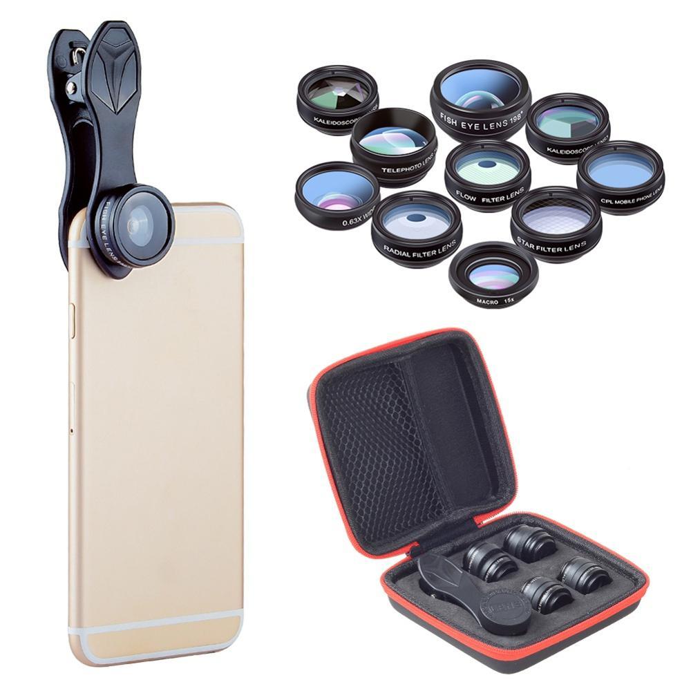 10 in 1 Kit Obiettivo Del Telefono Mobile Fisheye Ampio Angolo di Obiettivo Macro CPL Filtro Caleidoscopio + 2X Lente del Telescopio Universale per Smartphon